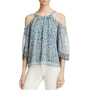 Beltaine Cold Shoulder Chiffon 3/4 Sleeves Blouse